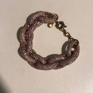 J Crew pink/rose gold pave crystal chain bracelet